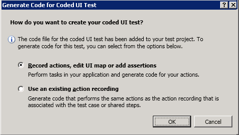 select Coded UI type