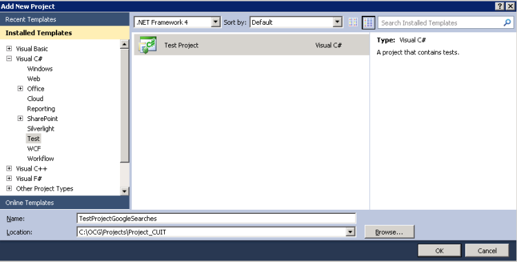create new test project in Visual Studio