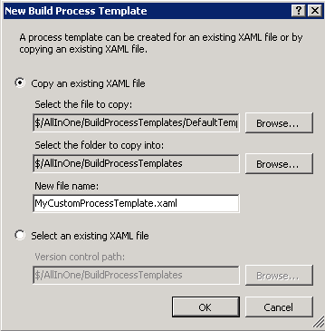 New Build Process Template dialog